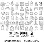 doodle sketch type of building... | Shutterstock .eps vector #605530847
