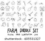 doodle sketch farm icons... | Shutterstock .eps vector #605531327