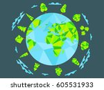 earth day.  low poly planet and ... | Shutterstock .eps vector #605531933