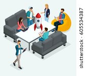 trendy isometric people  3d... | Shutterstock .eps vector #605534387