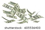 flying money isolated on a... | Shutterstock . vector #605536403