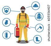 firefighter gear  equipment and ... | Shutterstock .eps vector #605556407