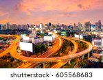 cityscape view of expressway...   Shutterstock . vector #605568683