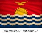 the national flag of kiribati... | Shutterstock .eps vector #605580467