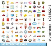 100 recreation icons set in... | Shutterstock .eps vector #605582243