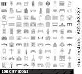 100 city set in outline style... | Shutterstock .eps vector #605583737