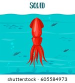 squid icon. vector illustration.... | Shutterstock .eps vector #605584973