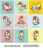 cute magic unicorn cards with... | Shutterstock .eps vector #605589983
