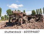 ruins of bireknau conceptration ... | Shutterstock . vector #605594687