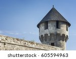 medieval tower from buda castle ... | Shutterstock . vector #605594963