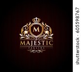 majestic brand logo   initial... | Shutterstock .eps vector #605598767