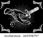 traditional tattoo flash hand... | Shutterstock .eps vector #605598797