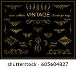 vector ethnic calligraphic... | Shutterstock .eps vector #605604827