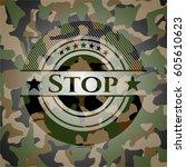 stop on camo texture | Shutterstock .eps vector #605610623
