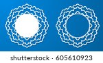vector stencil lacy round frame ...   Shutterstock .eps vector #605610923