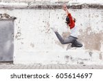 fitness sport girl in fashion...   Shutterstock . vector #605614697