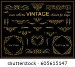 vector ethnic calligraphic... | Shutterstock .eps vector #605615147