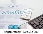 modern white office desk white... | Shutterstock . vector #605615207