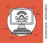 car insurance satellite service ... | Shutterstock .eps vector #605618843