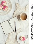 coffee  cupcakes and journal | Shutterstock . vector #605620463
