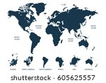 world map vector. continents... | Shutterstock .eps vector #605625557
