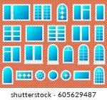 windows plastic set vector | Shutterstock .eps vector #605629487