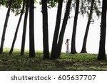 woman wearing white dress... | Shutterstock . vector #605637707