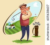 golfer plays golf. vector... | Shutterstock .eps vector #605638607