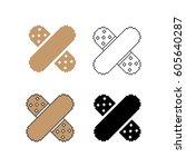 cross adhesive plaster  outline ... | Shutterstock .eps vector #605640287