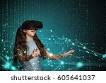 young girl using virtual... | Shutterstock . vector #605641037