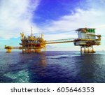 oil and gas platform in the... | Shutterstock . vector #605646353