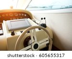 steering wheel on a luxury... | Shutterstock . vector #605655317