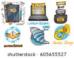 set of social icons in hand...   Shutterstock .eps vector #605655527