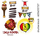 set of social icons in hand...   Shutterstock .eps vector #605655737