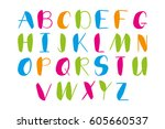 hand drawn alphabet. colorful... | Shutterstock .eps vector #605660537