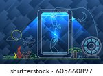 abstract 3d printing figures on ... | Shutterstock .eps vector #605660897