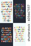 vector set of four hand drawn... | Shutterstock .eps vector #605667557