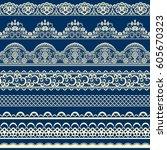 horizontally seamless floral... | Shutterstock .eps vector #605670323