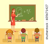 school lesson in classroom.... | Shutterstock .eps vector #605671427
