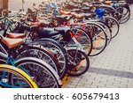 selective focus and  vintage... | Shutterstock . vector #605679413
