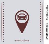 car and pin icon  vector design | Shutterstock .eps vector #605680367