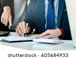 business   meeting in office ... | Shutterstock . vector #605684933