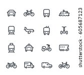 transport line icons over white ... | Shutterstock .eps vector #605687123