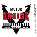 motorcycle typography  t shirt... | Shutterstock .eps vector #605694593