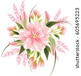 floral bouquet for wedding... | Shutterstock .eps vector #605695223