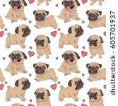 Stock vector seamless pattern with image of a funny cartoon pugs puppies vector illustration 605701937