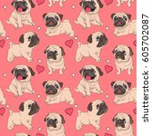 Stock vector seamless pattern with image of a funny cartoon pugs puppies on a pink background vector 605702087