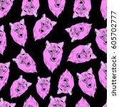 pattern of wolf. | Shutterstock .eps vector #605702777