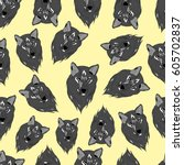 pattern of wolf. | Shutterstock .eps vector #605702837
