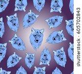 pattern of wolf. | Shutterstock .eps vector #605702843